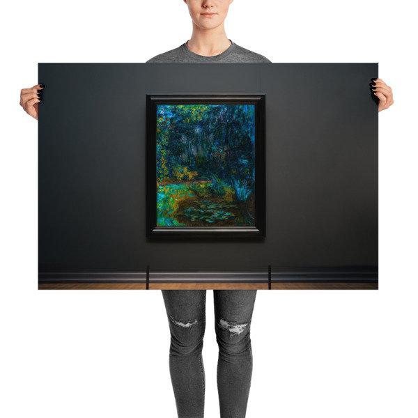 Lilies — Green, Gold, Cobalt