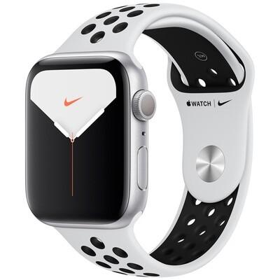 Часы Apple Watch Series 5 GPS 44mm Aluminum Case with Nike Sport Band (Серебристый/чистая платина/черный)