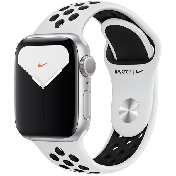Часы Apple Watch Series 5 GPS 40mm Aluminum Case with Nike Sport Band (Серебристый/Чистая платина/черный)