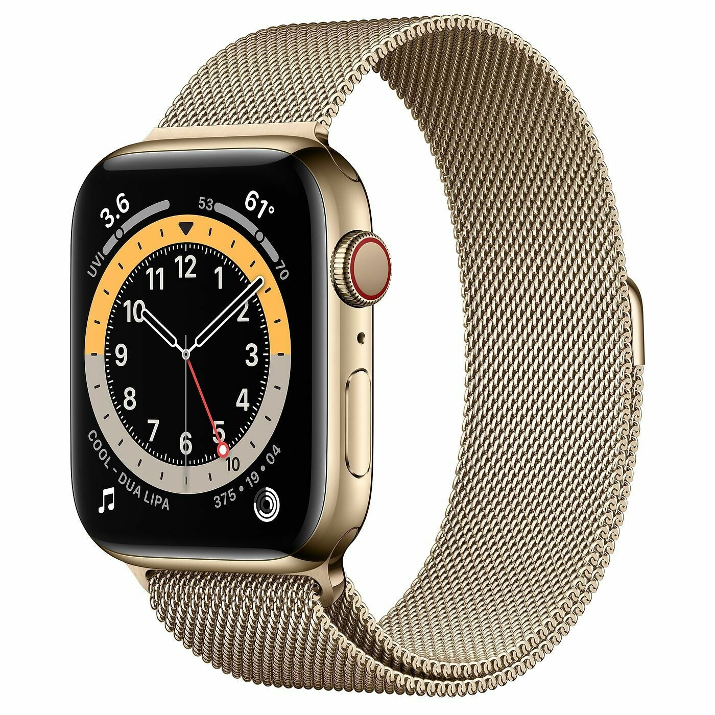 Часы Apple Watch Series 6 GPS + Cellular 44mm Stainless Steel Case with Milanese Loop (Золотистый)