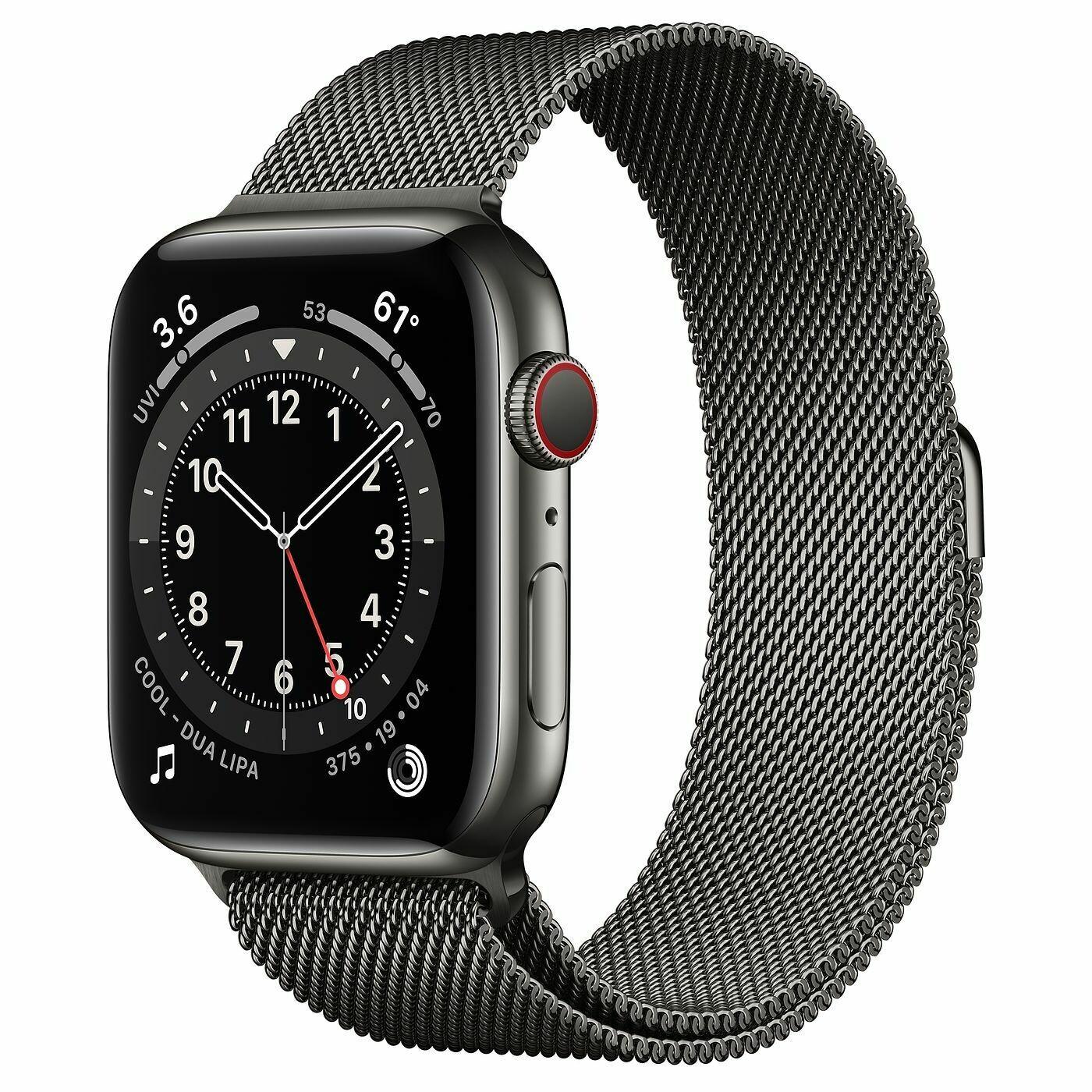 Часы Apple Watch Series 6 GPS + Cellular 44mm Stainless Steel Case with Milanese Loop (Графитовый)