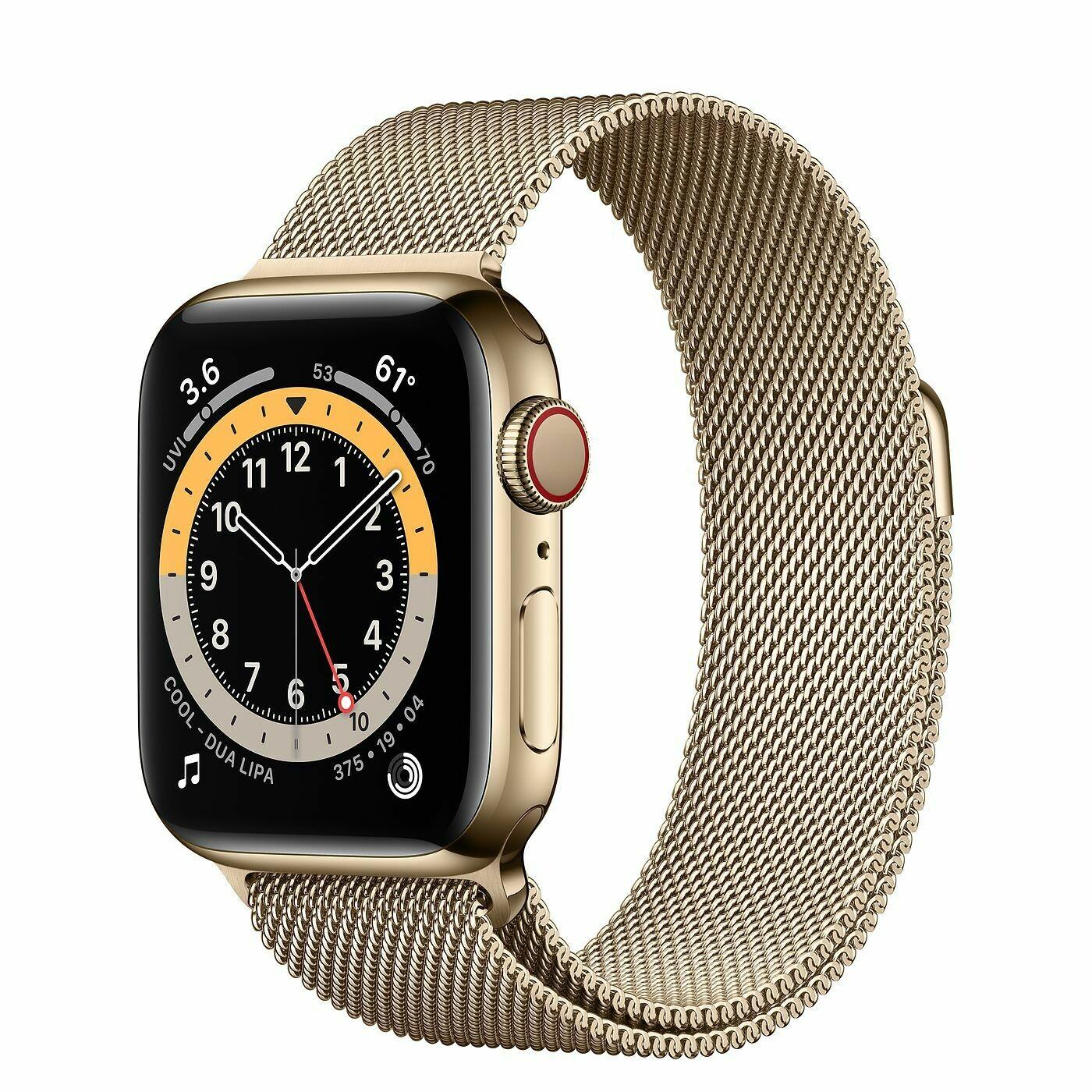 Часы Apple Watch Series 6 GPS + Cellular 40mm Stainless Steel Case with Milanese Loop (Золотистый)