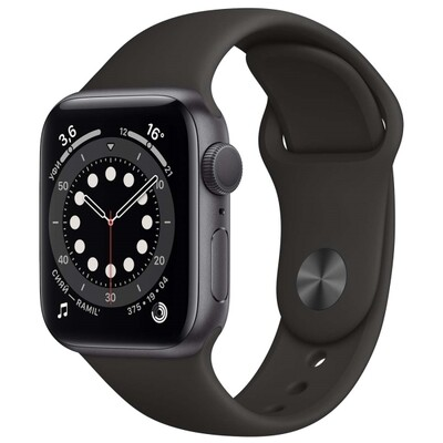 Умные часы Apple Watch Series 6 GPS 44mm Aluminum Case with Sport Band (Серый космос/черный) (M00H3RU/A)
