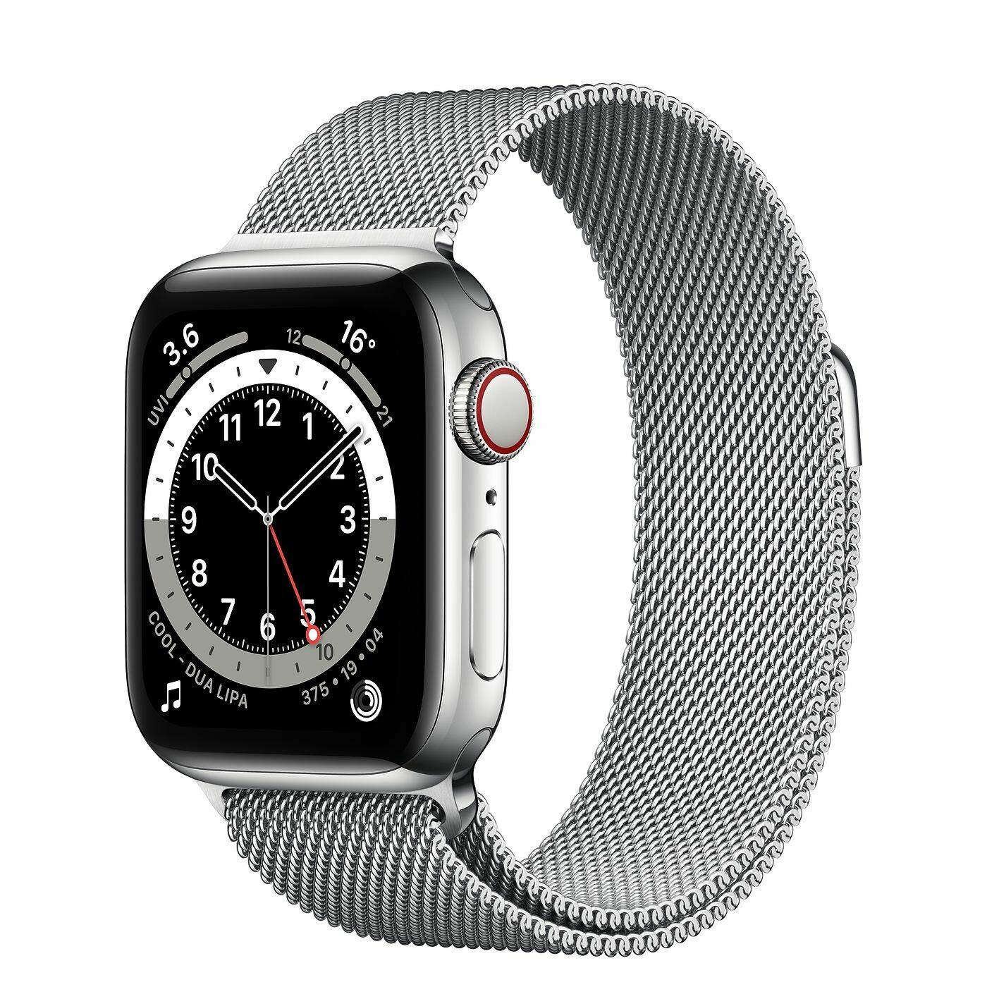 Умные часы Apple Watch Series 6 GPS + Cellular 40мм Stainless Steel Case with Milanese Loop, серебристый