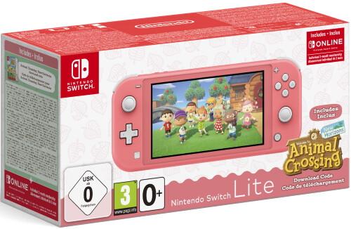 Игровая приставка Nintendo Switch Lite 32 ГБ, Coral, код загрузки Animal Crossing: New Horizons + NSO 3 месяца