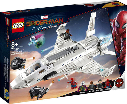 Конструктор LEGO Marvel Super Heroes 76130 Spiderman Реактивный самолёта Старка и атака дрона