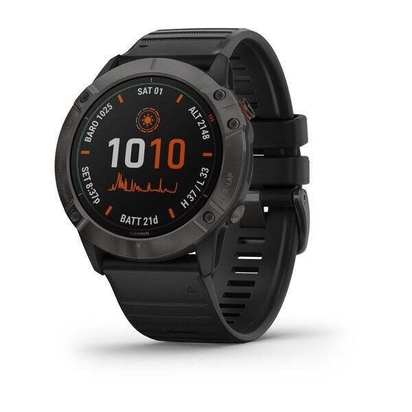 Умные часы Garmin Fenix 6X Pro Solar титановый DLC, серый/черный