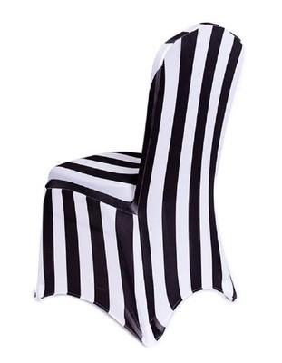 Housse De Chaise En Spandex Lignée Noir Et Blanc / Black And White Striped stretch spandex chair cover