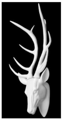 Tête de Reine en résine blanche/ White Resin Reindeer Head