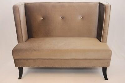 Banquette Velouté gris / Grey velvet bench