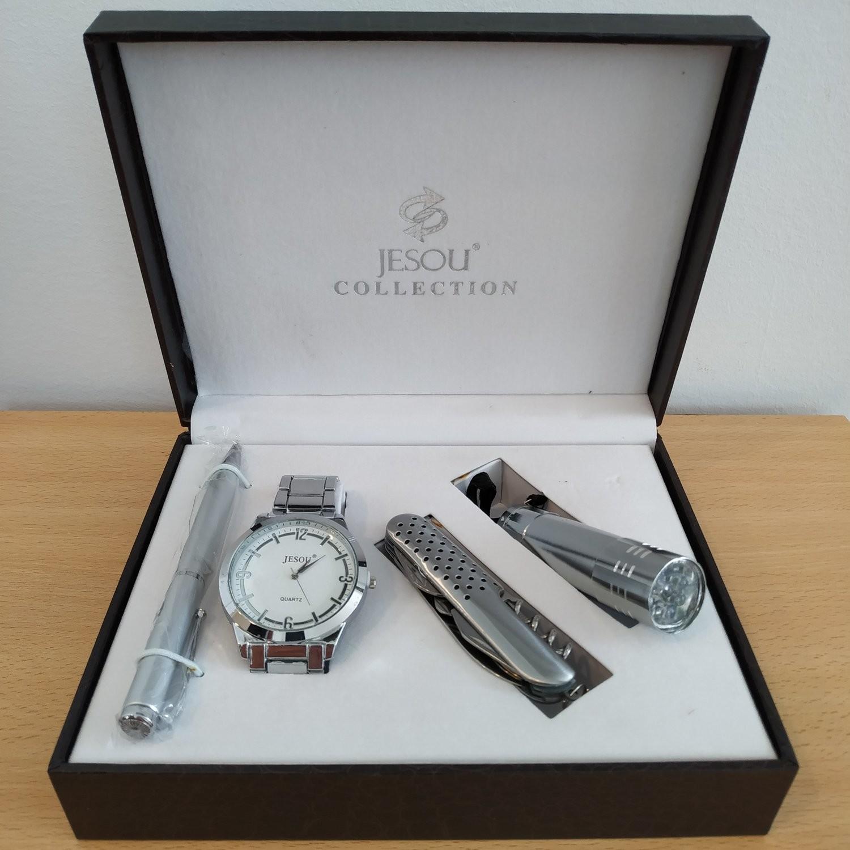 JESOU Collection relógio quartzo + kit navalha + lanterna led + caneta