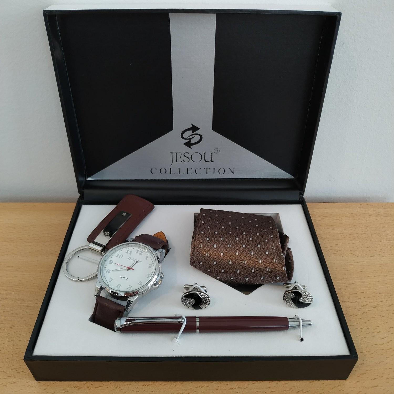 JESOU Collection relógio quartzo + gravata + chaveiro + caneta