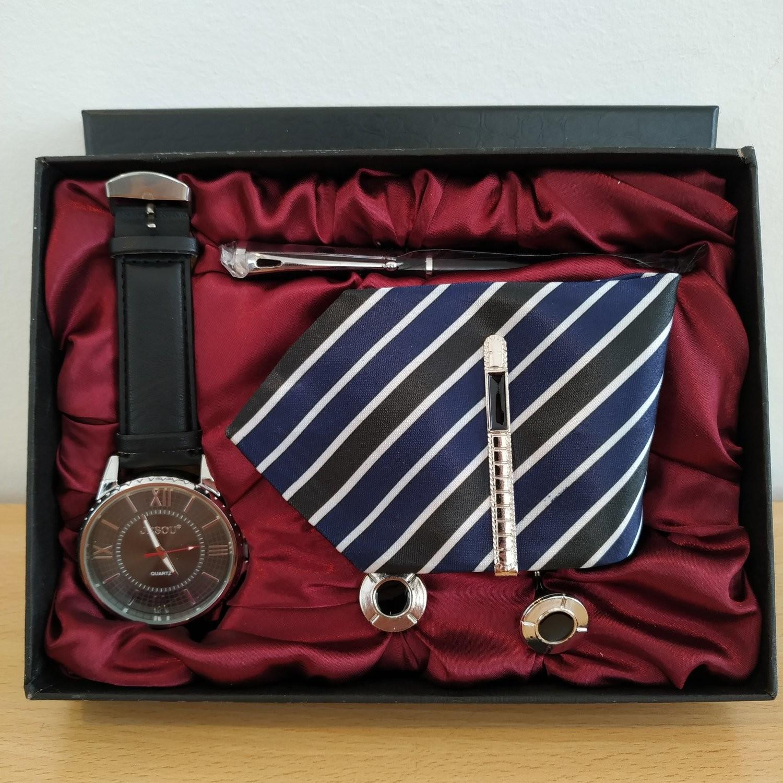 JESOU Collection relógio quartzo + gravata + caneta