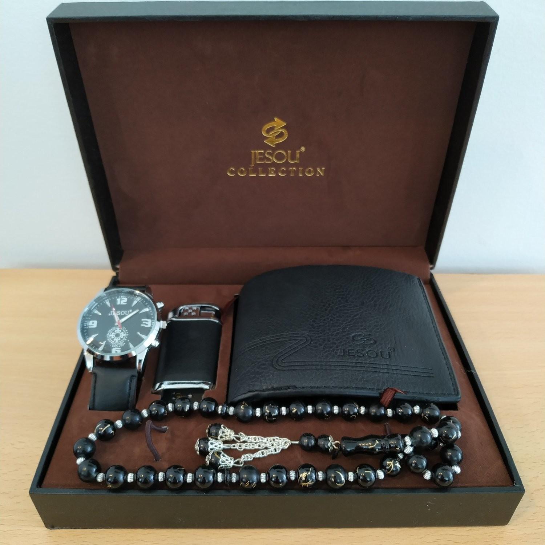 JESOU Collection relógio quartzo + carteira + isqueiro + colar