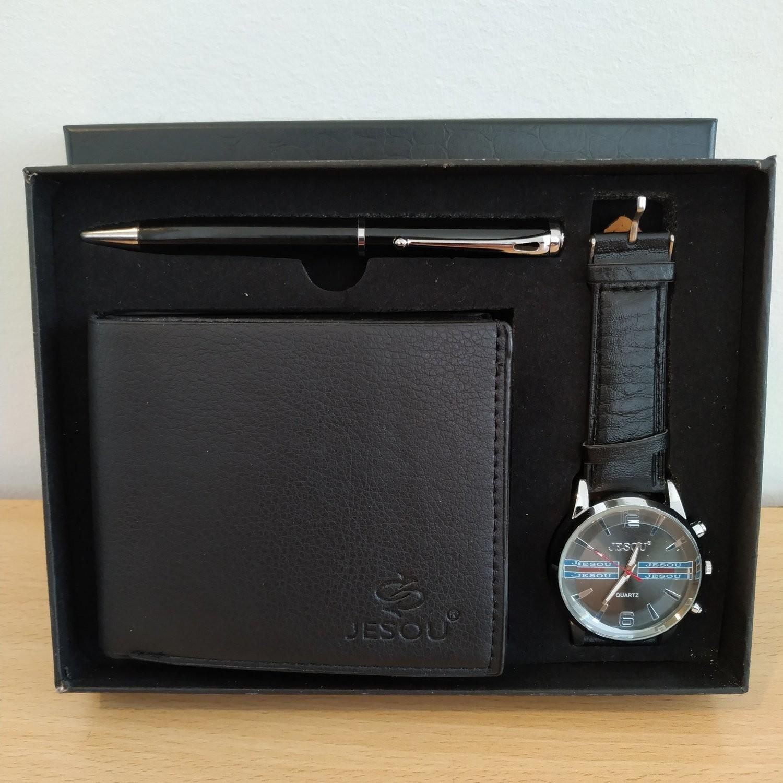 JESOU Collection relógio quartzo + carteira + caneta