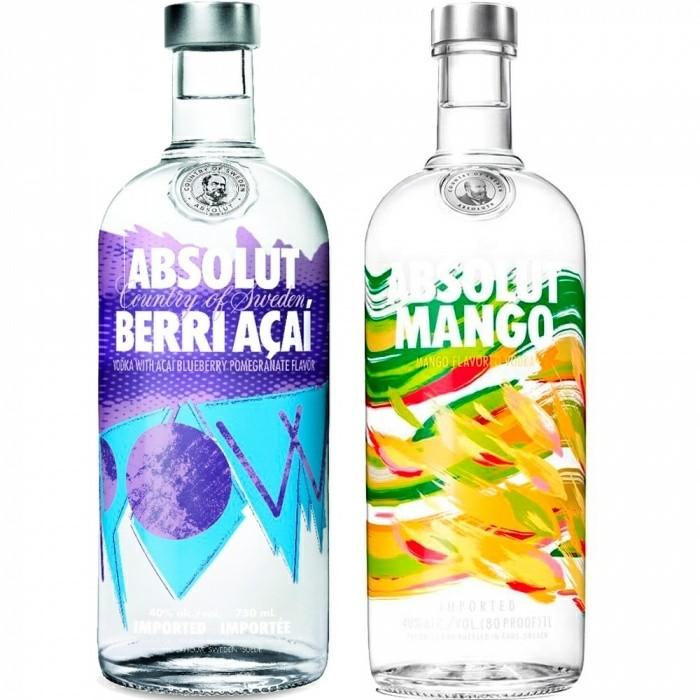 Pack Vodka Berri Açaí + Vodka Mango Absolut 2x1l