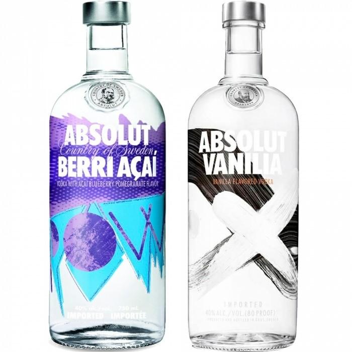 Pack Vodka Vanilla + Vodka Berri Açaí Absolut 2x1l