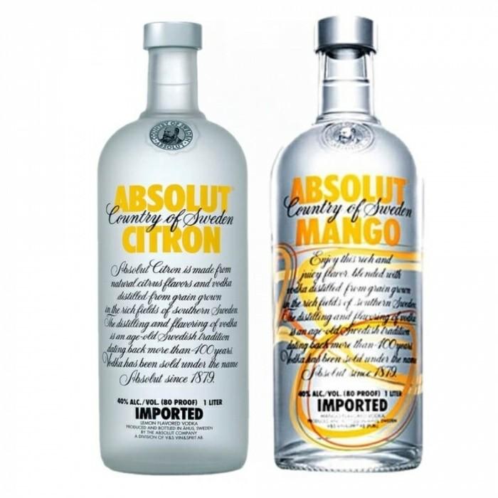 Pack Vodka Absolut Citron 40% 1L + Vodka Absolut Mango 40% 1L