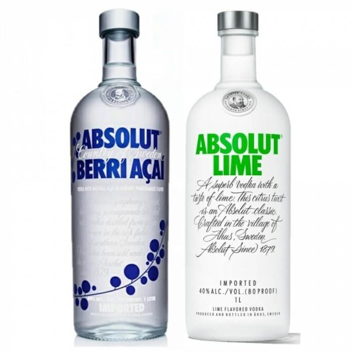 Pack Vodka Absolut Berri Açaí 40% 1L + Vodka Absolut Lime 40% 1L