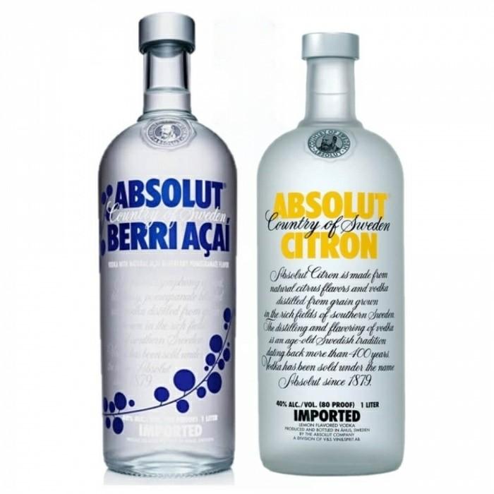 Pack Vodka Absolut Berri Açaí 40% 1L + Vodka Absolut Citron 40% 1L