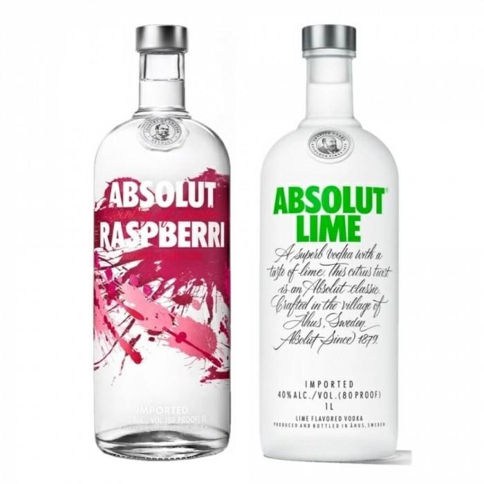 Pack Absolut Raspberri 40% 1L + Vodka Absolut Lime 40% 1L