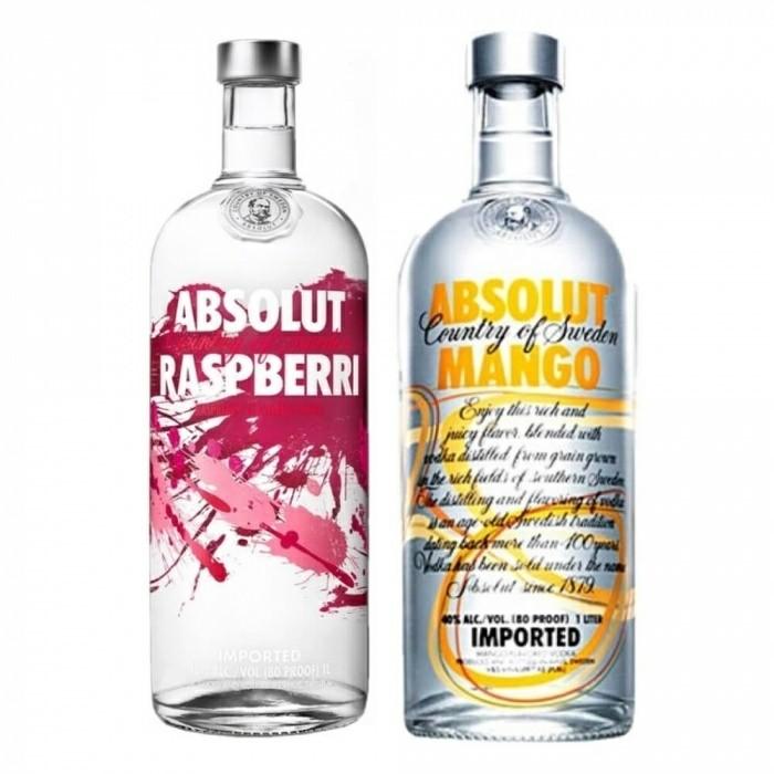 Pack Vodka Absolut Raspberri 40% 1L + Vodka Absolut Mango 40% 1L