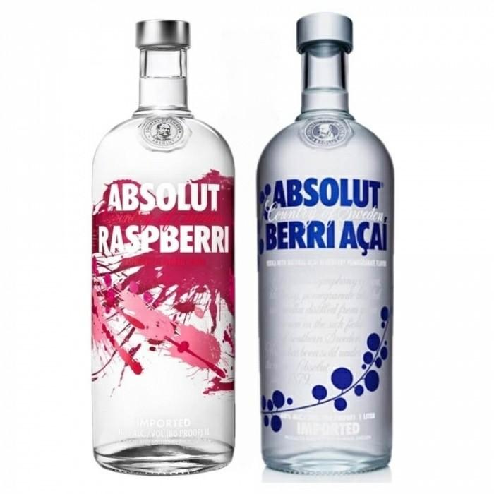 Pack Vodka Absolut Raspberri 40% 1L + Vodka Absolut Berri Açaí 40% 1L
