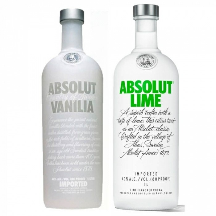Pack Vodka Absolut Vanilia 40% 1L + Vodka Absolut Lime 40% 1L