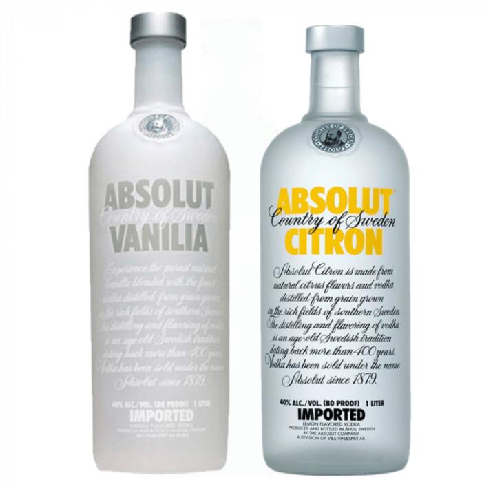 Pack Vodka Absolut Vanilia 40% 1L + Vodka Absolut Citron 40% 1L