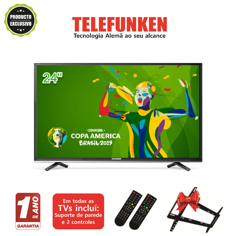 "Televisor Telefunken 24"" digital + suporte parede + 2 controles"