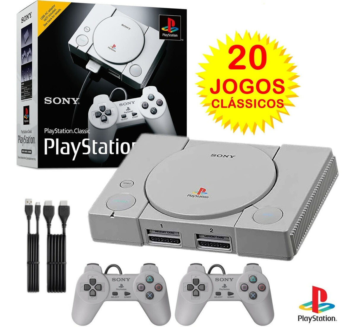 Playstation Classic Sony  + 20 jogos + 2 controles