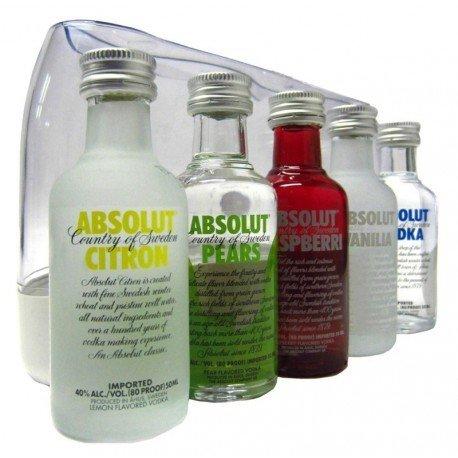 Vodka Absolut Mini Pack 5 unidades de 50ml
