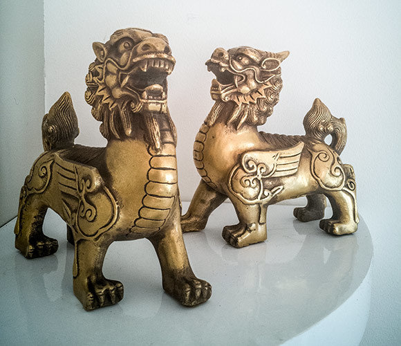 ** £120 After Discount ** Dharma Protector Brass Mythical Dogs