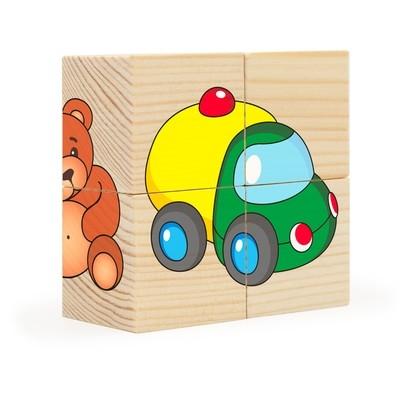 Игрушки. Собери рисунок. Кубики-пазл (4 кубика)