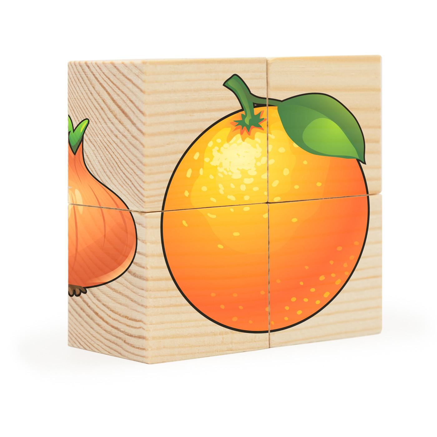 Фрукты-овощи. Собери рисунок. Кубики-пазл (4 кубика)