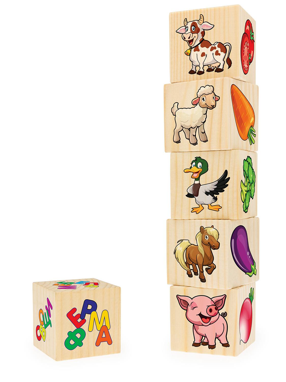 Ассоциации на кубиках №2 (животные фермы, овощи, морские жив-е, насекомые, посуда, мебель, 6 куб-в)