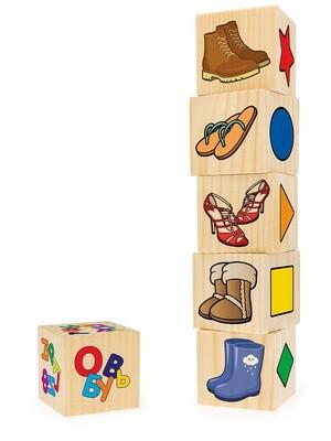 Ассоциации на кубиках №3 (фигуры, обувь, дикие жив-е, транспорт, еда, сказки, 6 куб-в)