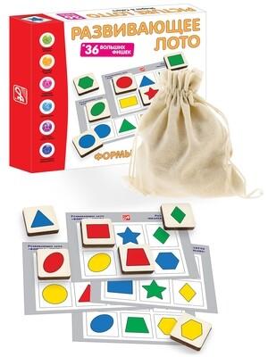 Развивающее ЛОТО. ФОРМЫ и ЦВЕТА (36 деревянных фишек + 6 карточек + мешочек)