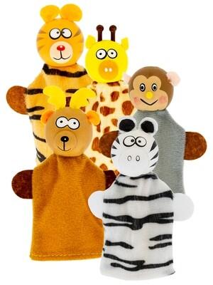 Набор кукол ПАЛЬЧИКОВЫЙ ТЕАТР: ЖИВОТНЫЕ (5 героев, дерево, текстиль)