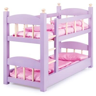 Кроватка для кукол большая двухъярусная деревянная окрашенная со спальным комплектом