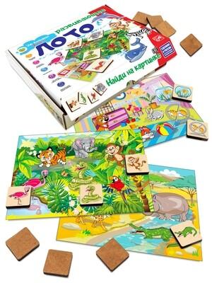 Развивающее ЛОТО. Найди на картинке. ЖИВОТНЫЕ (36 деревянных фишек + 6 карточек + мешочек)