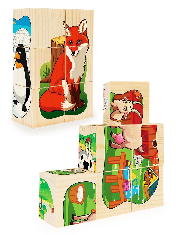 Кубики из дерева. Пазлы на кубиках 4 (12 деревянных кубиков)