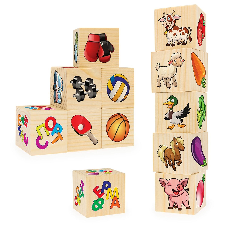 Кубики из дерева. Ассоциации на кубиках 2 (12 деревянных кубиков)