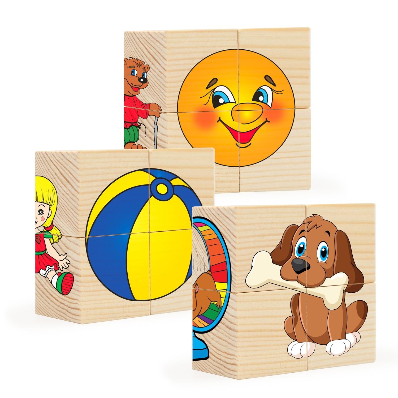Кубики из дерева. Пазлы на кубиках 1 (12 деревянных кубиков)