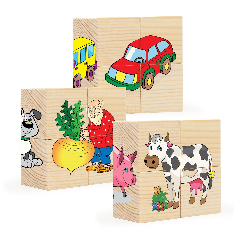 Кубики из дерева. Пазлы на кубиках 2 (12 деревянных кубиков)