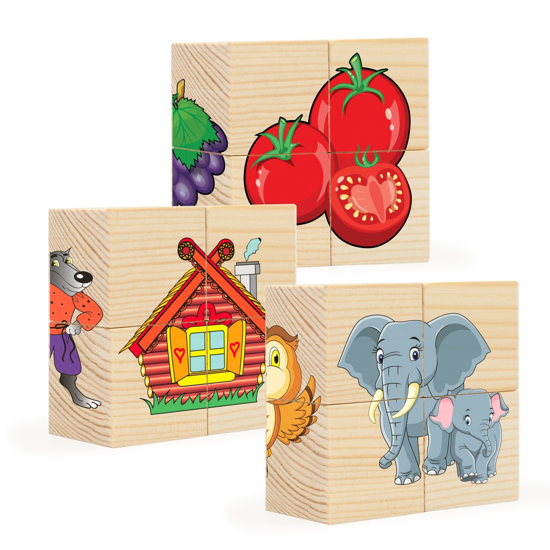 Кубики из дерева. Пазлы на кубиках 3 (12 деревянных кубиков)