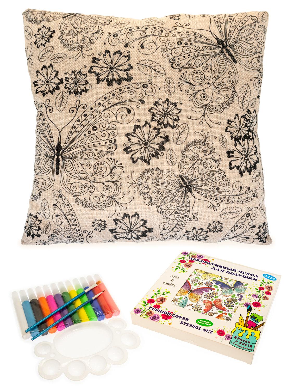 Бабочки в цветах. Чехол для подушки + краски и кисти