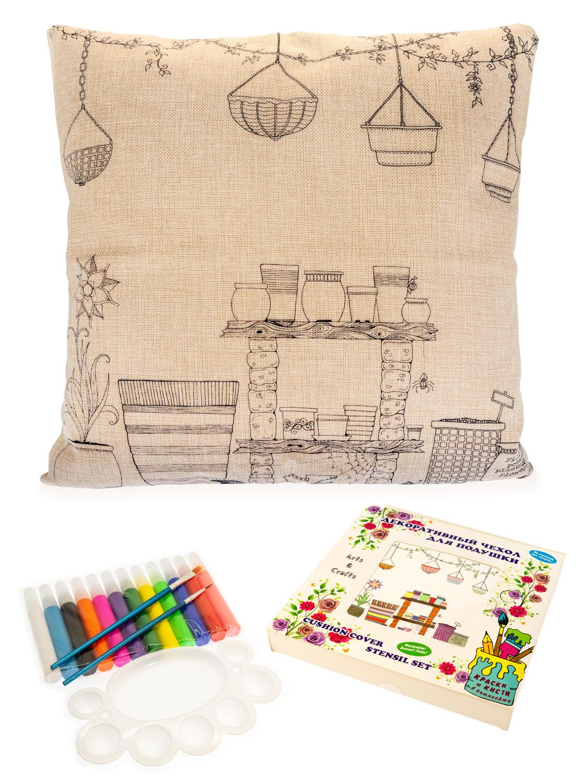 Волшебная комната цветочной феи. Чехол для подушки + краски и кисти