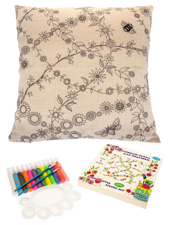 Волшебные ветви с цветами и листьями. Чехол для подушки + краски и кисти