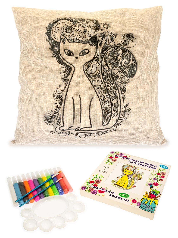 Кошечка. Чехол для подушки + краски и кисти